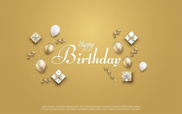 Gelukkige verjaardag met realistische ballon en geschenkdoos