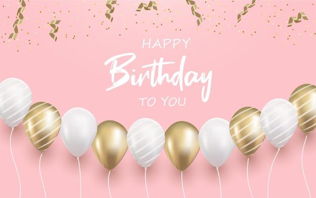 Gelukkige verjaardag met realistische ballon op roze