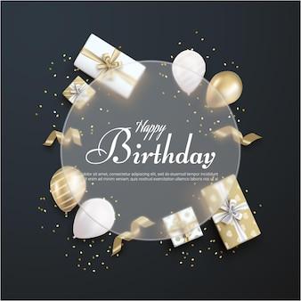 Gelukkige verjaardag met realistische geschenkdoos op zwarte achtergrond