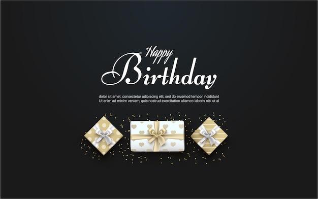 Gelukkige verjaardag met realistische geschenkdoos