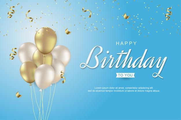 Gelukkige verjaardag met realistische gouden ballon op blauw