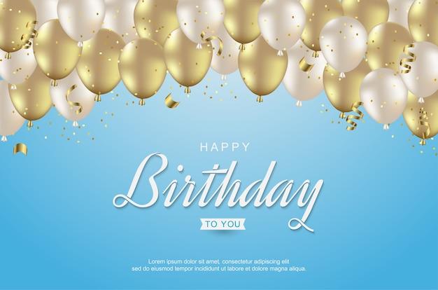 Gelukkige verjaardag met realistische gouden ballonnen en lint op blauw