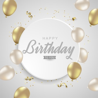 Gelukkige verjaardag met realistische gouden ballonnen op zilveren bakground