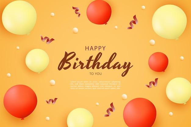 Gelukkige verjaardag met rode ballondecoratie met extra rood lint