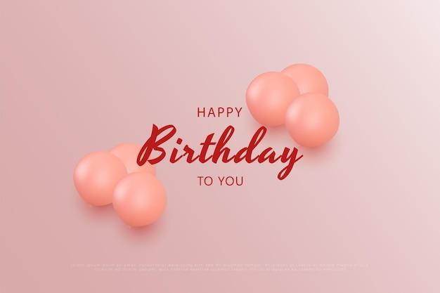 Gelukkige verjaardag met roze ballonnen die het schrift verfraaien