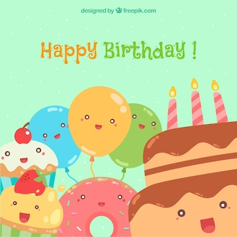 Gelukkige verjaardag met smileyballonnen en taarten