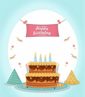 Gelukkige verjaardag met taart, hoed en poster