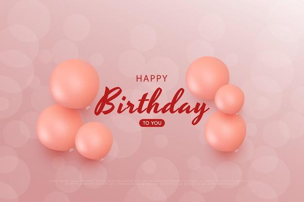Gelukkige verjaardag met transparante roze bellenachtergrond