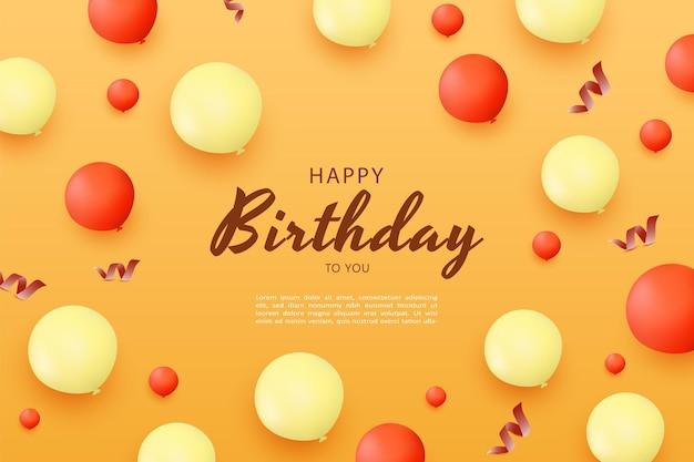 Gelukkige verjaardag met verspreide ballondecoratie