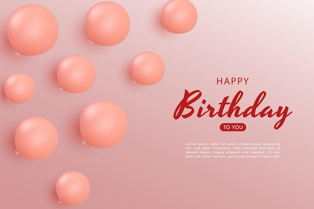 Gelukkige verjaardag met vliegende ballonnen achtergrond
