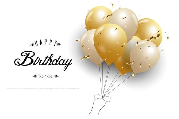 Gelukkige verjaardag met witte achtergrond en een bos ballonnen aan de rechterkant met glitter