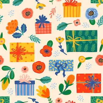 Gelukkige verjaardag. naadloos patroon met leuke geschenkdozen en bloemen.