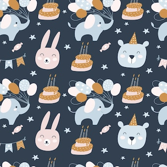 Gelukkige verjaardag naadloze patroon. verjaardagstaartjes, dieren. vakantie voor kinderen.
