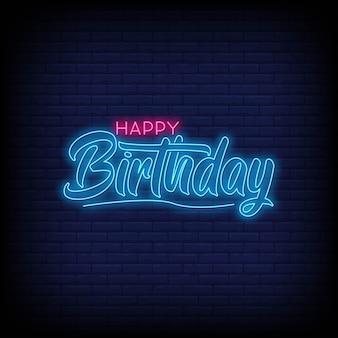 Gelukkige verjaardag neon ondertekent tekst