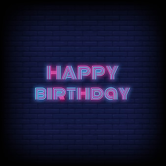Gelukkige verjaardag neon stijl
