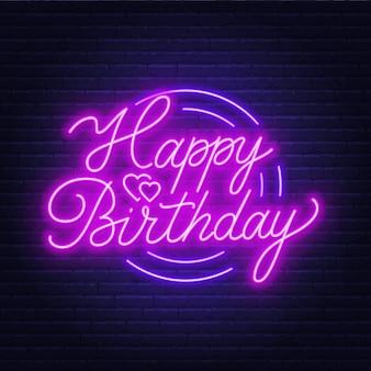 Gelukkige verjaardag neon teken. wenskaart op donkere achtergrond.