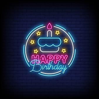 Gelukkige verjaardag neon tekenen stijl tekst