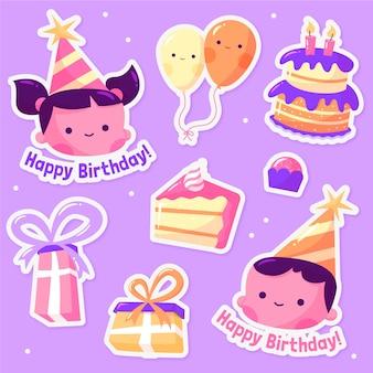 Gelukkige verjaardag ontwerp illustratie van stickers