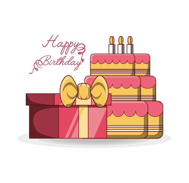 Gelukkige verjaardag ontwerp met geschenk doos en verjaardagstaarten pictogram