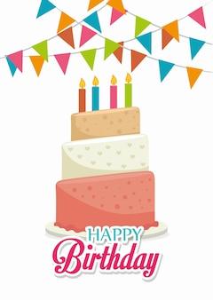Gelukkige verjaardag ontwerp, vectorillustratie.