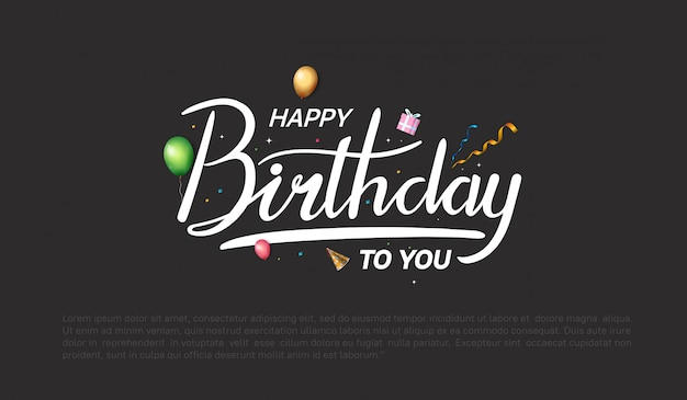 Gelukkige verjaardag ontwerp voor achtergrond, banner en uitnodigingskaart