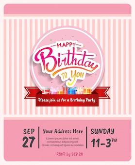 Gelukkige verjaardag ontwerp voor brochure, poster, banner en uitnodiging feest