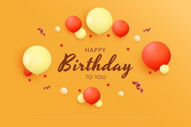 Gelukkige verjaardag op de achtergrond van verschillende vormen en kleuren van ballonnen