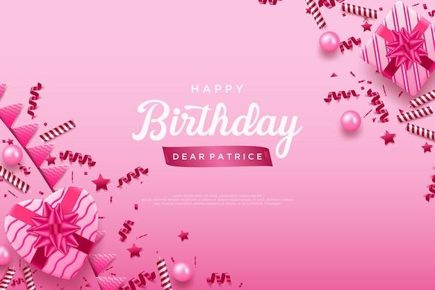 Gelukkige verjaardag op een roze achtergrond met feestelijk gejuich