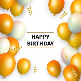 Gelukkige verjaardag oranje en witte ballonnen aan kanten