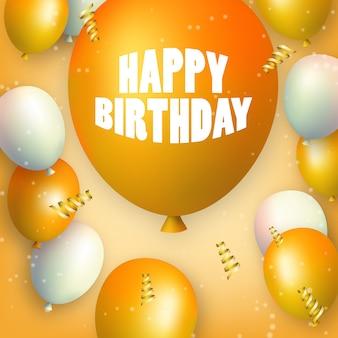 Gelukkige verjaardag oranje en witte ballonnen met grote