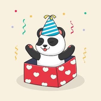 Gelukkige verjaardag panda in doos met hoed