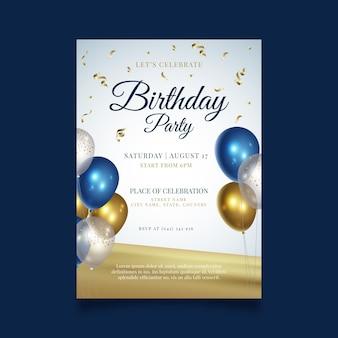Gelukkige verjaardag partij flyer-sjabloon