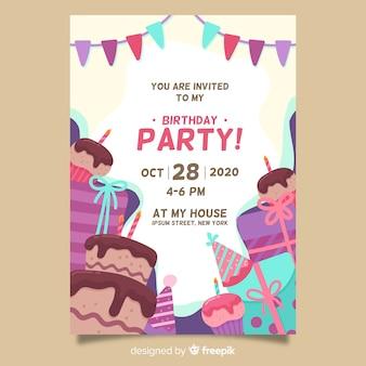 Gelukkige verjaardag partij uitnodiging sjabloon