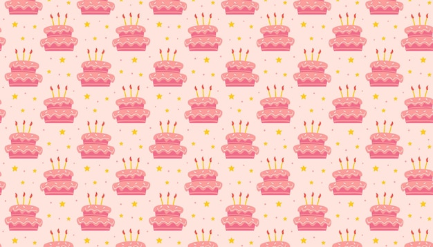 Gelukkige verjaardag patroon banner achtergrond leuke smakelijke zoete cake met kaarsen decoratie voor de feestdagen