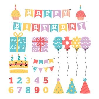 Gelukkige verjaardag plakboek set met ballonnen
