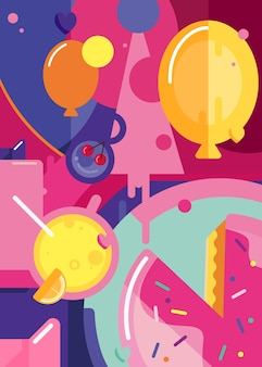 Gelukkige verjaardag poster met taart en ballonnen. vakantie briefkaart ontwerp in abstracte stijl.