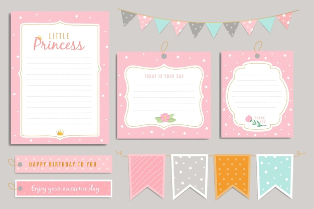 Gelukkige verjaardag prinses plakboek set