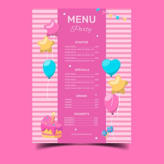 Gelukkige verjaardag restaurant menusjabloon