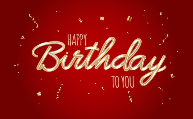 Gelukkige verjaardag rode glanzende achtergrond met confetti.