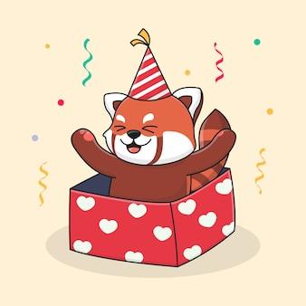 Gelukkige verjaardag rode panda in de doos en het dragen van een hoed