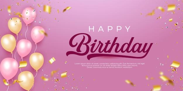 Gelukkige verjaardag roze achtergrond met realistische ballonnen