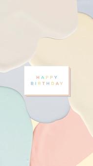 Gelukkige verjaardag saaie pastel sjabloon achtergrond
