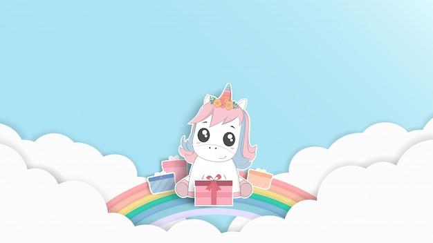 Gelukkige verjaardag. schattige baby eenhoorn pastel illustratie cartoon en papier kunst ontwerp