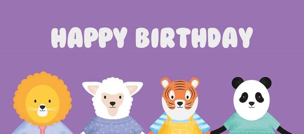 Gelukkige verjaardag schattige dieren met kleding kaart