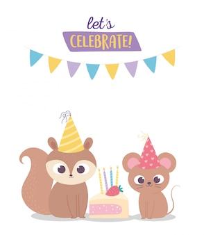Gelukkige verjaardag, schattige eekhoorn en muis met feestmutsen en taart viering decoratie cartoon