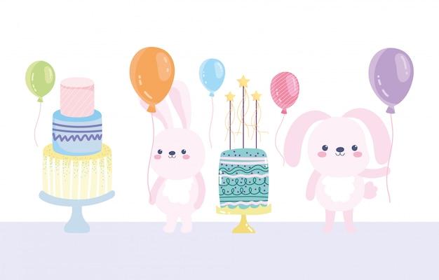 Gelukkige verjaardag, schattige konijnen met taarten en ballonnen cartoon viering decoratie kaart
