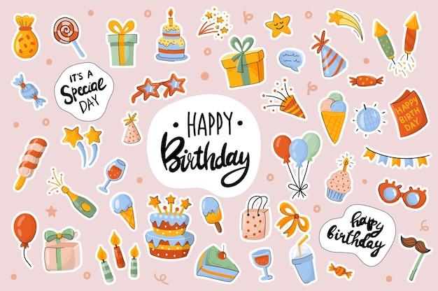 Gelukkige verjaardag schattige stickers sjabloon scrapbooking elementen instellen