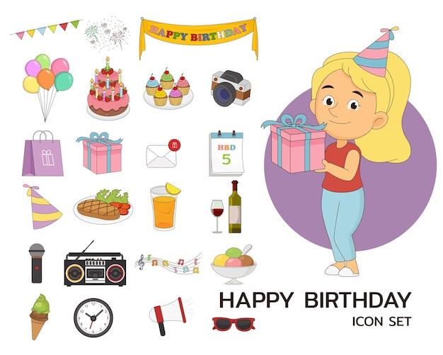 Gelukkige verjaardag set concept plat pictogrammen