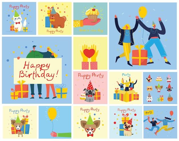 Gelukkige verjaardag set met illustraties en wenskaart. gelukkige groep mensen springen