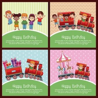 Gelukkige verjaardag set van kaart met treinen cartoon